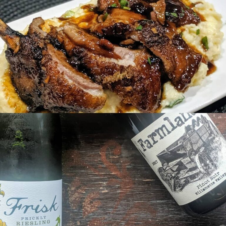 Two photos cropped and stacked, top image is BBQ duck breast and bottom is two bottles of wine
