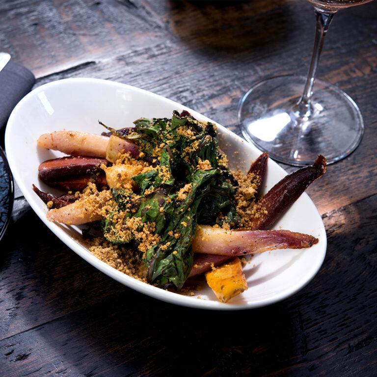 grilled swiss chard, za'atar chardonnay glaze, pistachio crumble