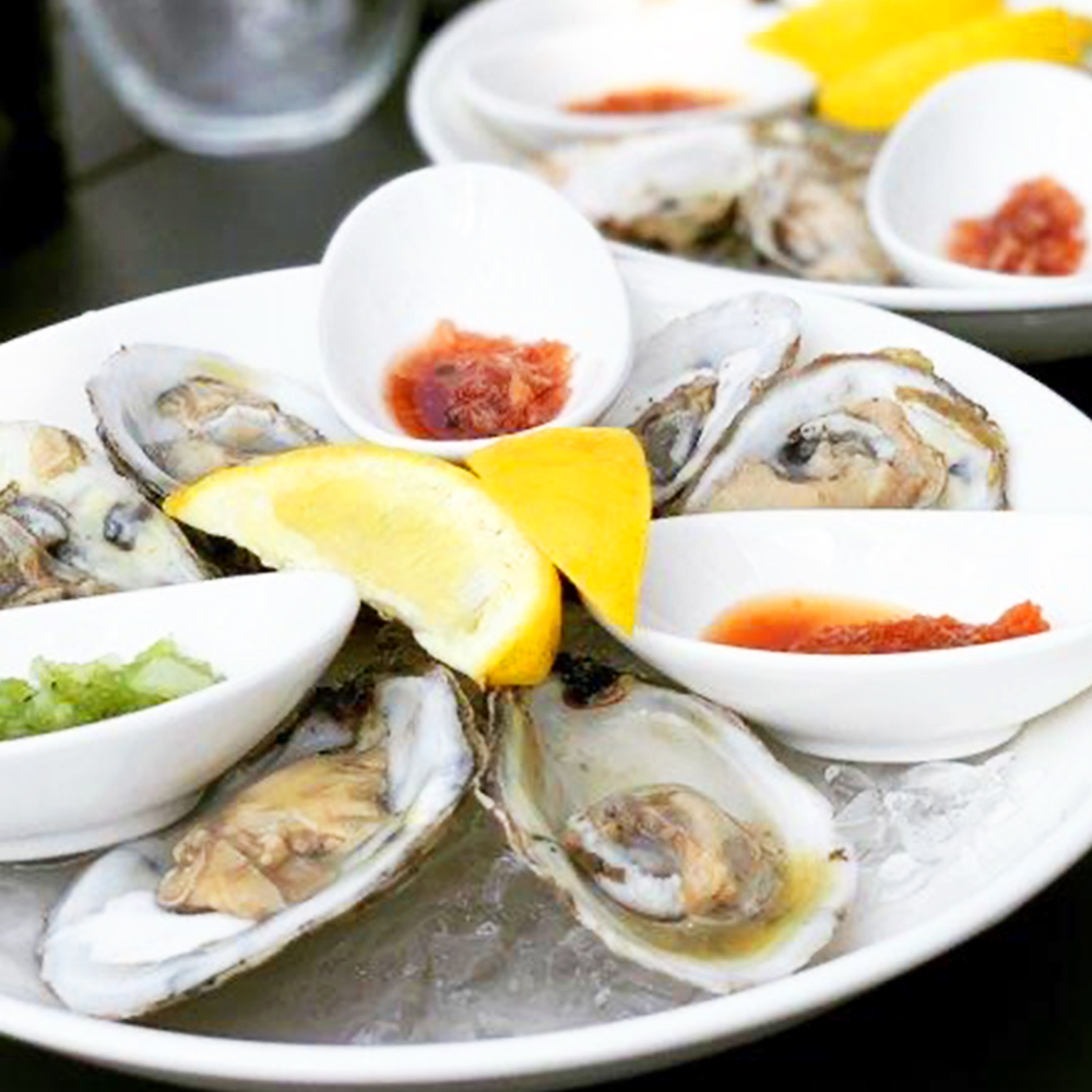 Oysters half shelled with lemon wedges and garnish on a plate of ice.