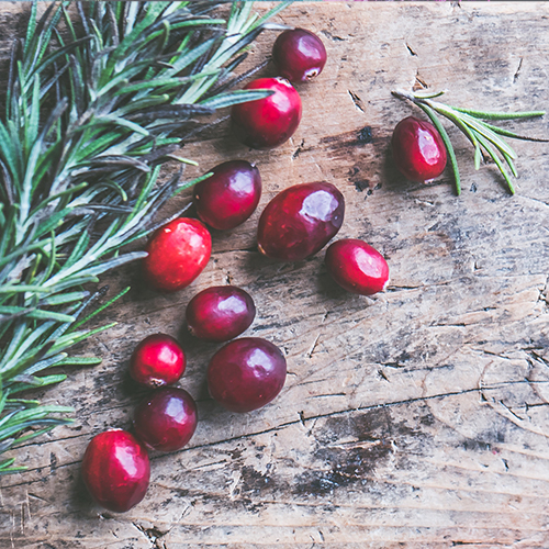 Cranberries and rosemary