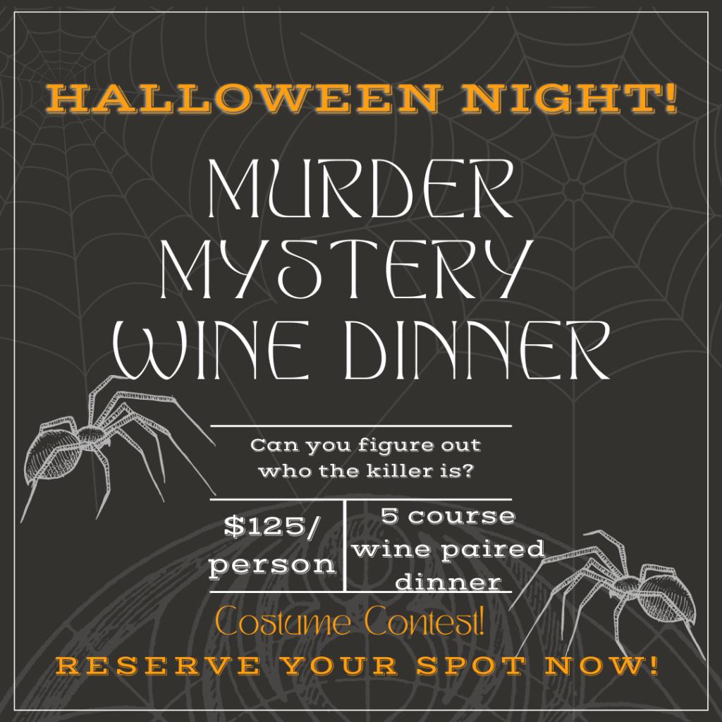 Flyer for the Uvae murder mystery wine dinner.