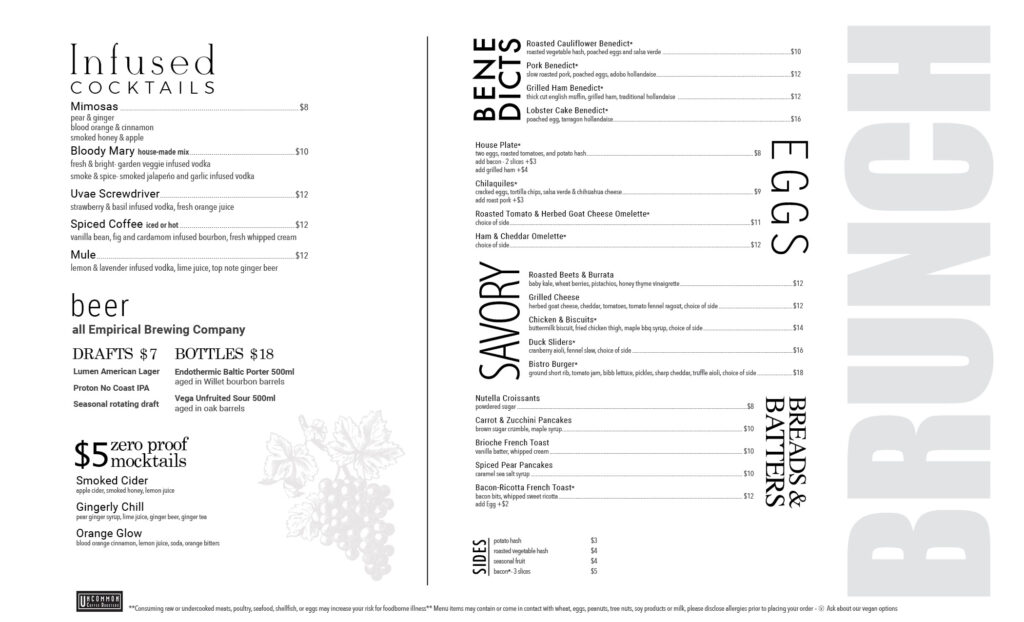 Uvae Kitchen and Wine Bar, brunch menu. Please contact us with any questions.
