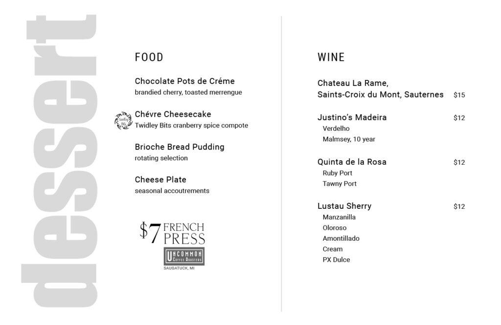 Uvae Kitchen and Wine Bar, dessert menu.
