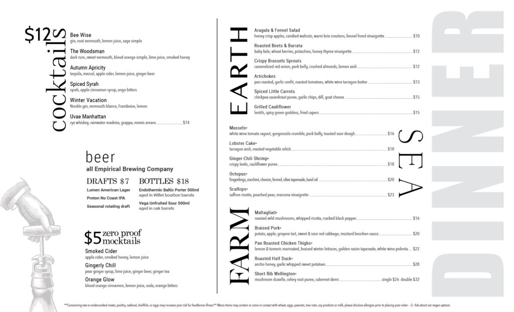 Uvae Kitchen and Wine Bar, dinner menu. Please contact us with any questions.