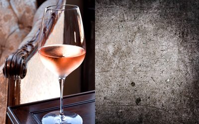 Image of glass of rose next to abstract image