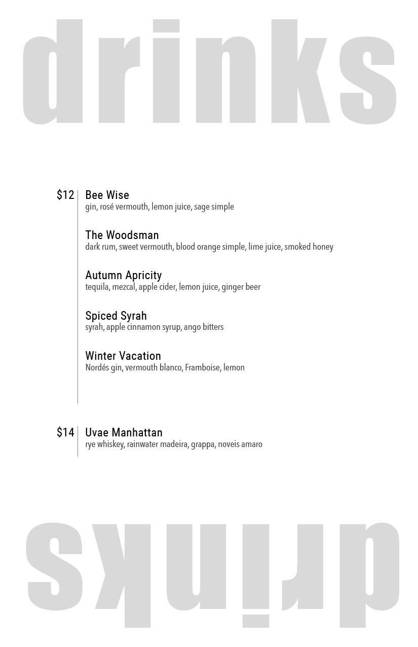 Uvae Kitchen and Wine Bar drink menu